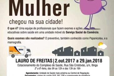 Unidade Móvel Saúde da Mulher atende em Lauro de Freitas