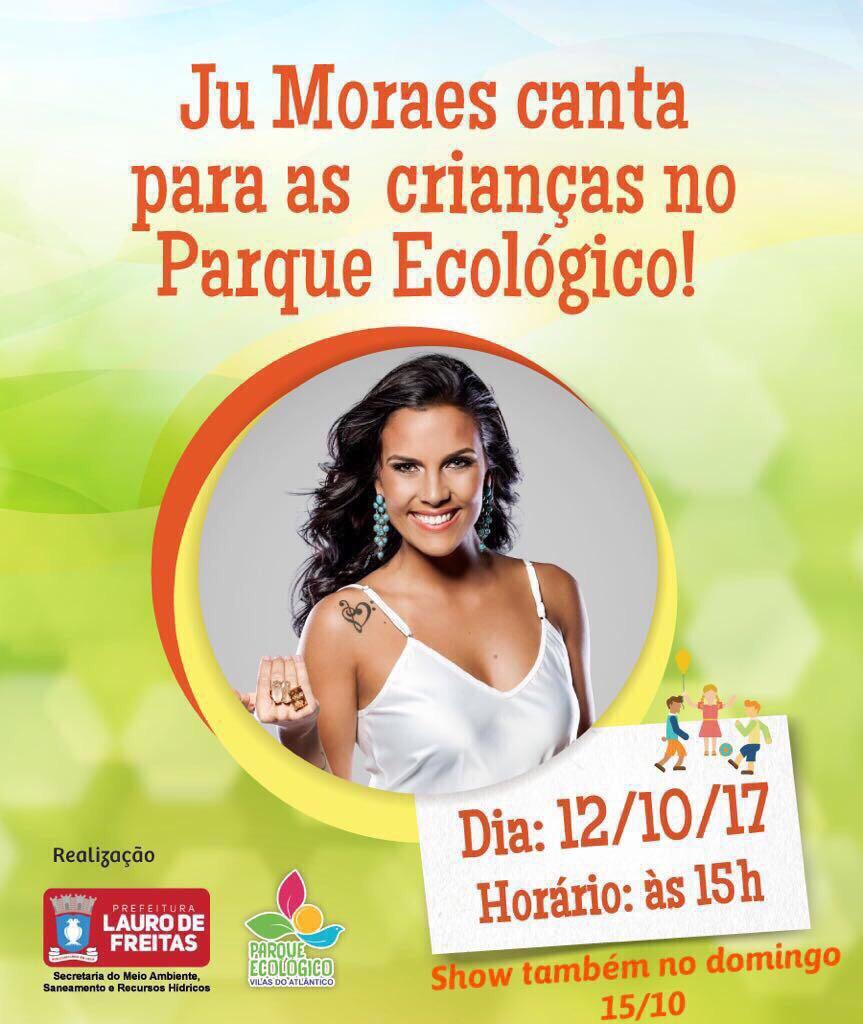 Ju Moraes canta para as crianças no Parque Ecológico de Vilas, nesta quinta (12)